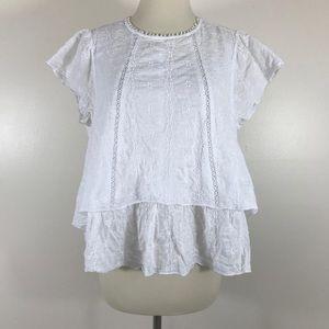 Zara Boho White Blouse - Size Small